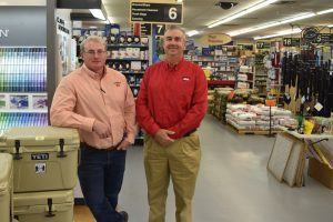 Art Frizzell III, left, and Billy Betts III encourage their customers to prepare for severe weather before the storm hits and to take advantage of the tax savings during Alabama's February tax holiday.